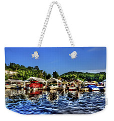 Marina At Cheat Lake Clear Day Weekender Tote Bag by Dan Friend