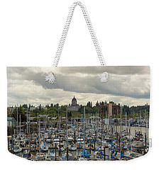 Marina In Olympia Washington Waterfront Moorage Weekender Tote Bag