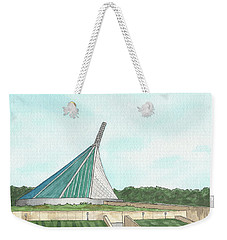 Weekender Tote Bag featuring the painting Marine Corps Museum From The Chapel by Betsy Hackett