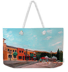 Weekender Tote Bag featuring the painting Market Day by Linda Feinberg