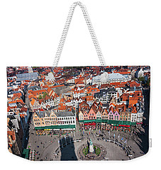 Weekender Tote Bag featuring the photograph Markt Square Bruges From Above - Bruges by Barry O Carroll