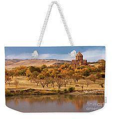 Marmashen Monastery Reflected On Lake At Autumn, Armenia Weekender Tote Bag by Gurgen Bakhshetsyan