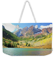 Weekender Tote Bag featuring the photograph The Maroon Bells Reimagined 2 by Eric Glaser