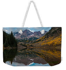 Weekender Tote Bag featuring the photograph Maroon Bells by Gary Lengyel