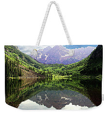 Weekender Tote Bag featuring the photograph Maroon Bells  by Jerry Battle
