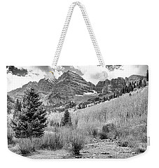 Weekender Tote Bag featuring the photograph Maroon Bells Monochrome by Eric Glaser