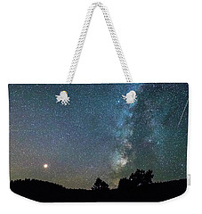 Weekender Tote Bag featuring the photograph Mars - Perseid Meteor - Milky Way by James BO Insogna