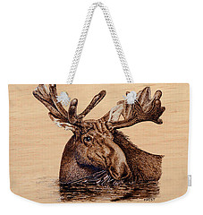 Marsh Moose Weekender Tote Bag by Ron Haist