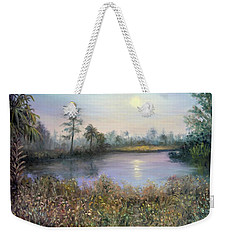 Marsh Wetland Moon Landscape Painting Weekender Tote Bag