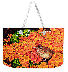 Weekender Tote Bag featuring the painting Marsh Wren by Michael Frank