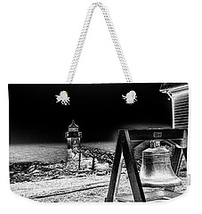 Weekender Tote Bag featuring the photograph Marshall Point Bell And Light by Daniel Hebard