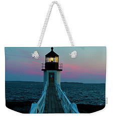 Marshall Point Lighthouse At Sunset Weekender Tote Bag by Diane Diederich