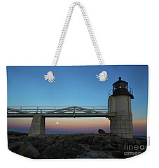 Marshall Point Lighthouse With Full Moon Weekender Tote Bag by Diane Diederich