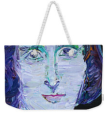 Weekender Tote Bag featuring the painting Mary Shelley - Oil Portrait by Fabrizio Cassetta