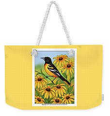 Maryland State Bird Oriole And Daisy Flower Weekender Tote Bag