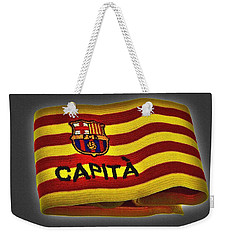 Weekender Tote Bag featuring the photograph Mas Que Un Capitan - Carles Puyol by Juergen Weiss