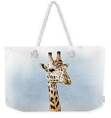 Masai Giraffe Closeup Square Weekender Tote Bag