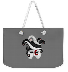 Mask In Black And White With Red Weekender Tote Bag