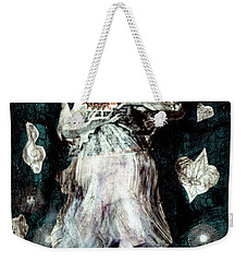 Weekender Tote Bag featuring the painting Masked Angel Holding The Sun by Genevieve Esson