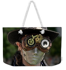 Weekender Tote Bag featuring the photograph Masked Man - Steampunk by Betty Denise