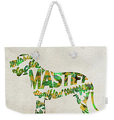 Weekender Tote Bag featuring the painting Mastiff Dog Watercolor Painting / Typographic Art by Ayse and Deniz