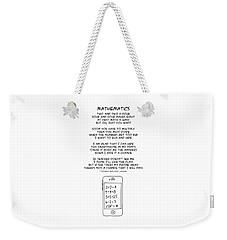 Weekender Tote Bag featuring the drawing Mathematics by John Haldane