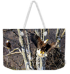 Weekender Tote Bag featuring the photograph Mating Pair At Nest by Randall Branham