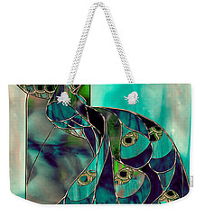 Mating Season Stained Glass Peacock Weekender Tote Bag