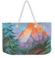 Weekender Tote Bag featuring the painting Matterhorn Sunrise by Diane McClary
