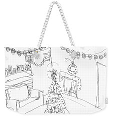Weekender Tote Bag featuring the drawing Matthews Christmas by Artists With Autism Inc