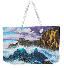 Weekender Tote Bag featuring the painting Maui Rugged Coast  by Darice Machel McGuire