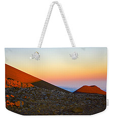 Mauna Kea Sunset With Full Moon Volcanoes National Park Hawaii Weekender Tote Bag by Venetia Featherstone-Witty