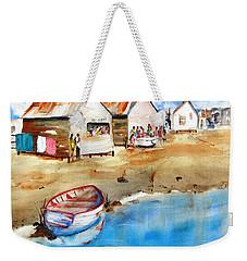 Mauricio's Village - Beach Huts Weekender Tote Bag by Carlin Blahnik