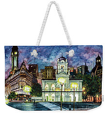 Weekender Tote Bag featuring the painting May Square, Buenos Aires by Bernardo Galmarini