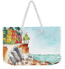 Weekender Tote Bag featuring the painting Mazatlan Cliff by Pat Katz