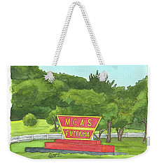 Weekender Tote Bag featuring the painting Mcas Futenma Welcome Sign by Betsy Hackett