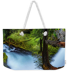 Weekender Tote Bag featuring the photograph Mckenzie River From Sahalie Falls by Cat Connor