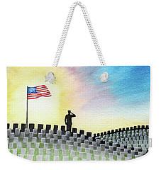 Weekender Tote Bag featuring the painting M C U Memorial Salute by Betsy Hackett