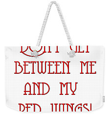 Weekender Tote Bag featuring the digital art Me And My Red Wings 1 by Andee Design