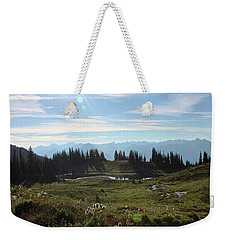 Weekender Tote Bag featuring the photograph Meadow Mountain View by Cathie Douglas