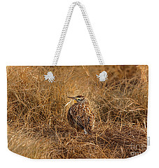 Weekender Tote Bag featuring the photograph Meadowlark Hiding In Grass by Robert Frederick