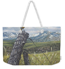 Weekender Tote Bag featuring the painting Meadowlark Serenade by Kim Lockman