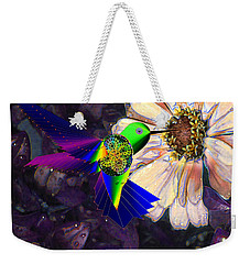 Weekender Tote Bag featuring the digital art Mecha Whirlygig by Iowan Stone-Flowers