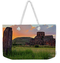 Mediaval Talin's Cathedral At Sunset With Cross Stone In Front, Armenia Weekender Tote Bag