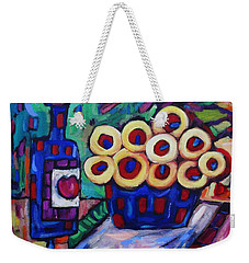 Weekender Tote Bag featuring the painting Medicinal Marigolds And Wine by Dianne  Connolly