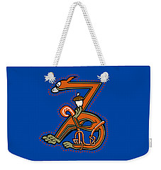 Weekender Tote Bag featuring the digital art Medieal Squirrel Letter Z by Donna Huntriss