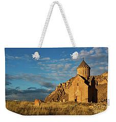 Medieval Areni Church Under Puffy Clouds, Armenia Weekender Tote Bag by Gurgen Bakhshetsyan
