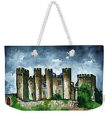 Weekender Tote Bag featuring the painting Medieval Castle Before Storm by Dora Hathazi Mendes