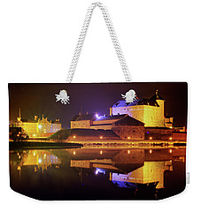 Medieval Castle By The Lake At Night Weekender Tote Bag