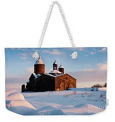Medieval Saghmosavank Monastery Covered By Snow At Sunset, Armenia Weekender Tote Bag by Gurgen Bakhshetsyan